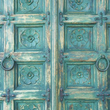 Wood door green color