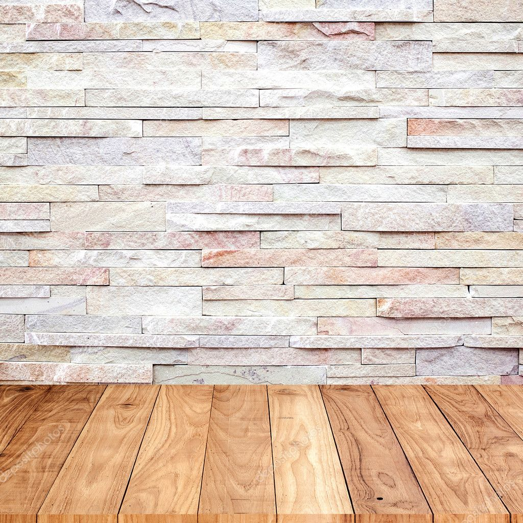 Wood floor with marble stone wall texture background