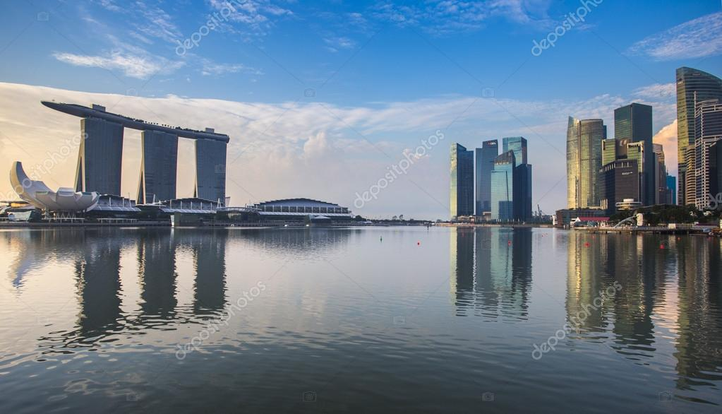 Singapore reflection of buildings Marina bay