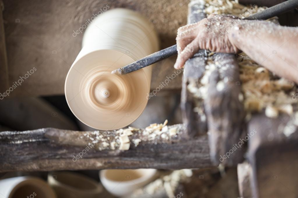 Man handmade working with wood product in industry