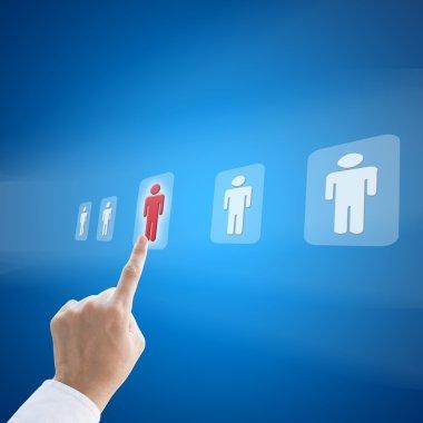 Hand press select person career to work job