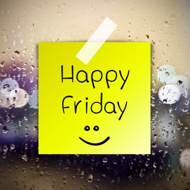 Happy Friday with water drops background with copy space
