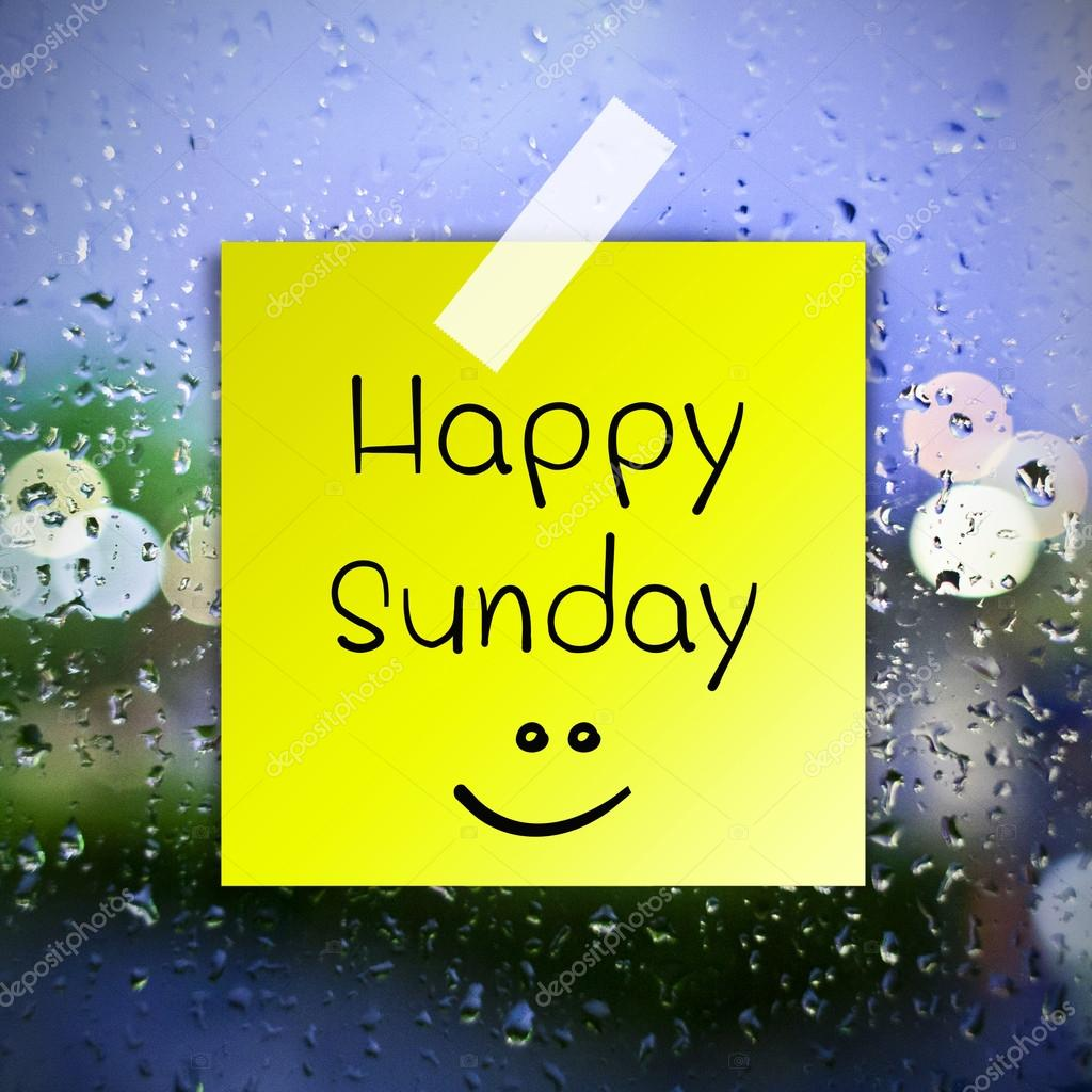 Happy Sunday with water drops background with copy space