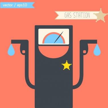 Cartoon cute gas station as cowboy gun man concept. vector. eps1