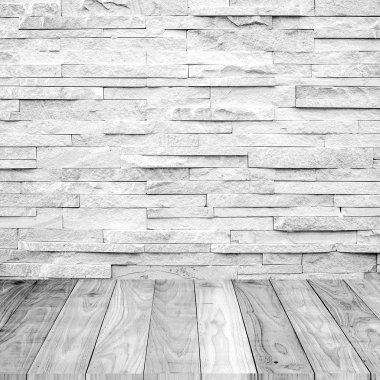 White Wood floor with marble stone wall texture background