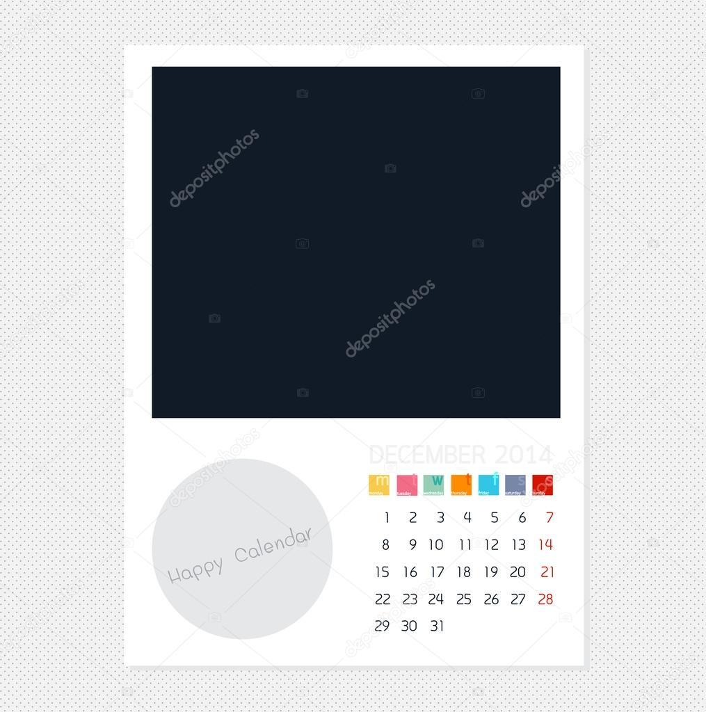 Kalender Dezember 2014, Foto Rahmen Hintergrund — Stockvektor © 2nix ...