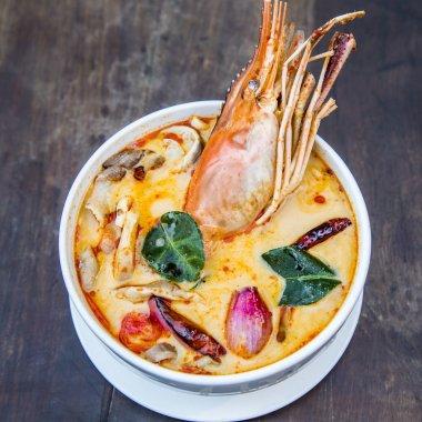 Thai spicy soup. Tom yum koong Thai spicy food.