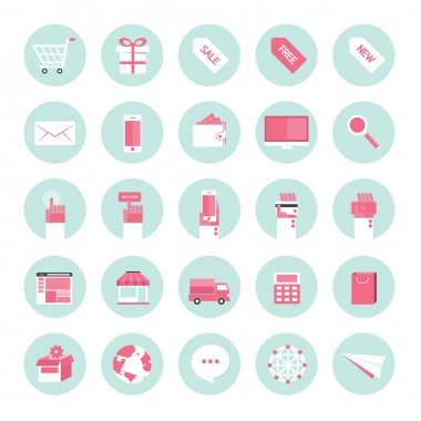 Flat design icons for business internet e-commerce collection set