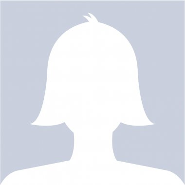 Female profile avatar icon white on blue background use for soci
