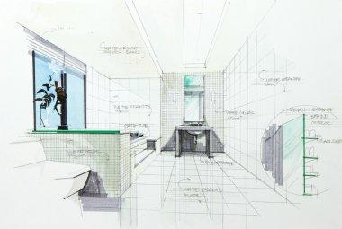 sketch of a bathroom