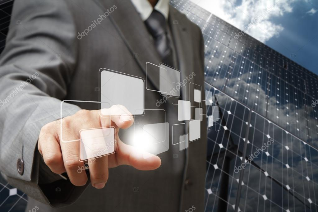 point to virtual buttons as green energy concept