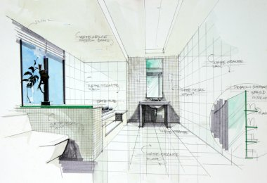 interior hand drawn perspetive of bathroom