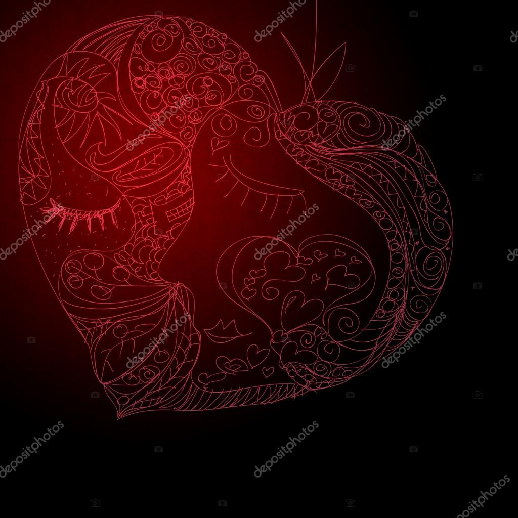 Heart Made Of Many Different Heart Symbols Stock Photo