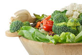 Wooden bowl of mixed salad