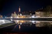 Fotografie Reflexion von Landsberg am Lech bei Nacht