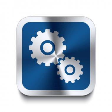 Square metal button - blue gear icon
