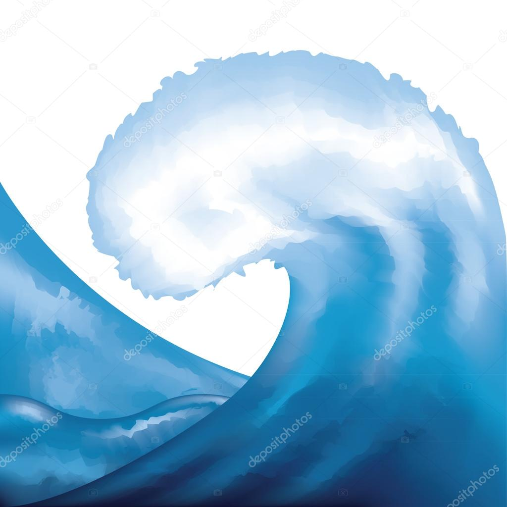 Watercolor painted wave