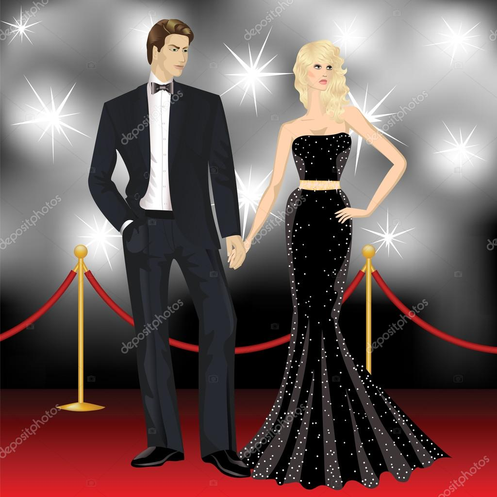 Famous luxury couple, fashion woman and elegant man in front of the paparazzi on the red carpet stock vector