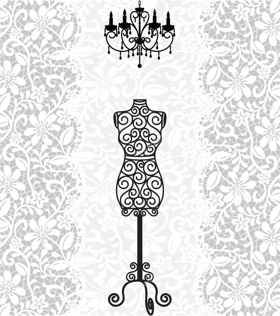 Mannequin and chandelier on lace background stock vector mannequin and chandelier on lace background stock vector arubaitofo Choice Image