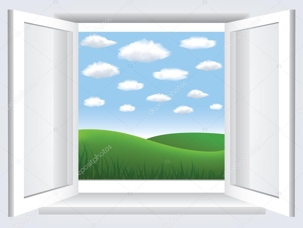 Window with blue sky, clouds and green hiil