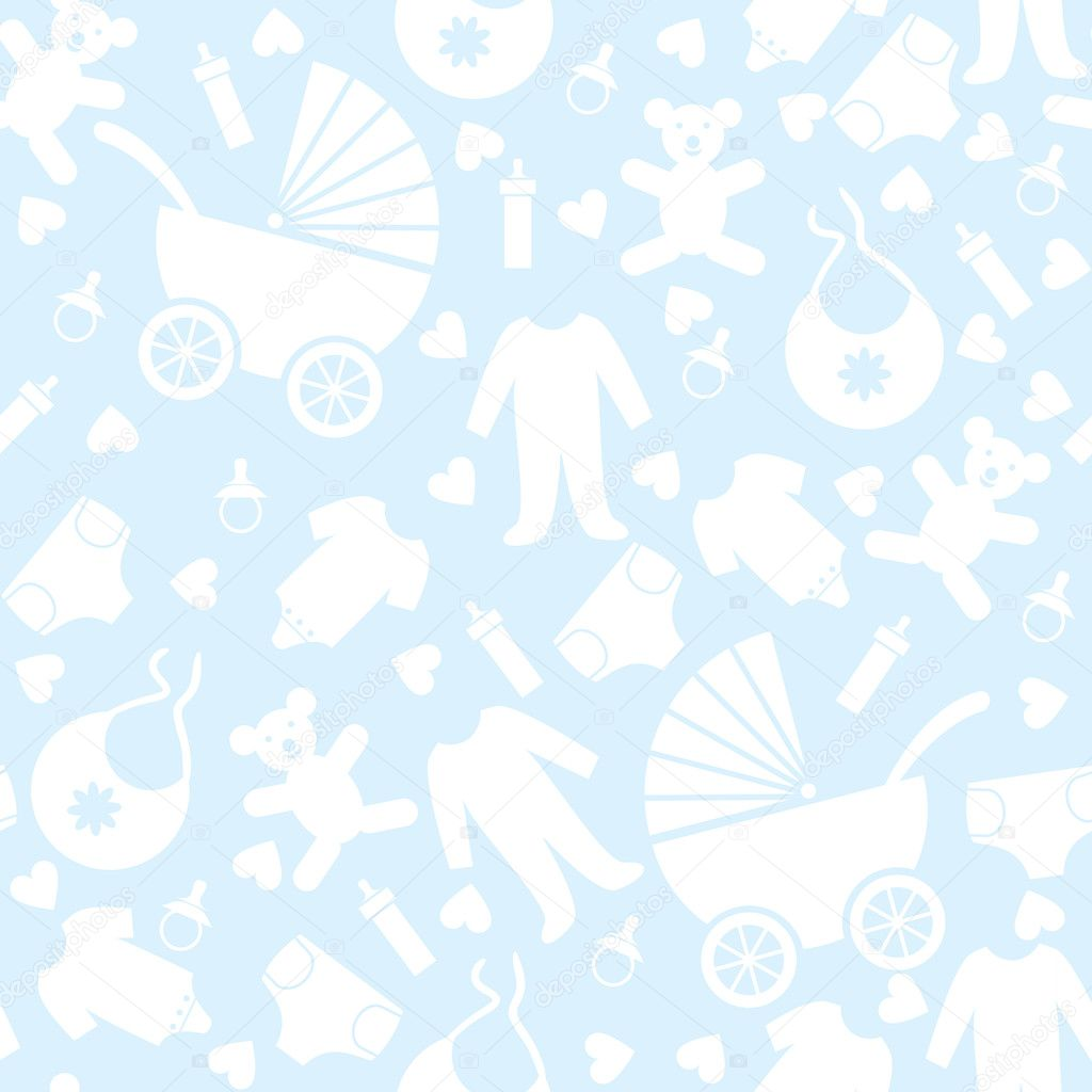 Seamless blue baby background stock vector prikhnenko - Baby background ...