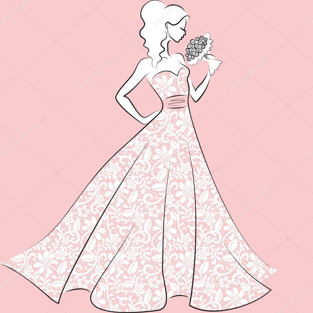 novia vestido de novia de encaje — Vector de stock © Prikhnenko ...