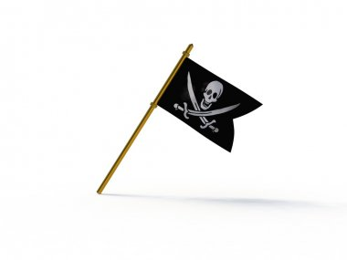 Close up of pirate ship flag - 3d render