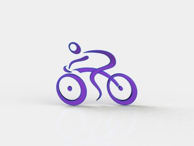 3d white people racing cyclist , isolated white background, 3d image