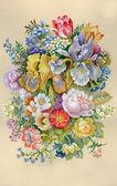 Fotografia Accumulazione del fiore dellacquerello: Fiori Bouquet