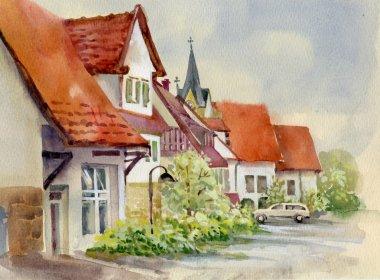 Watercolor Landscape Collection: Village Life