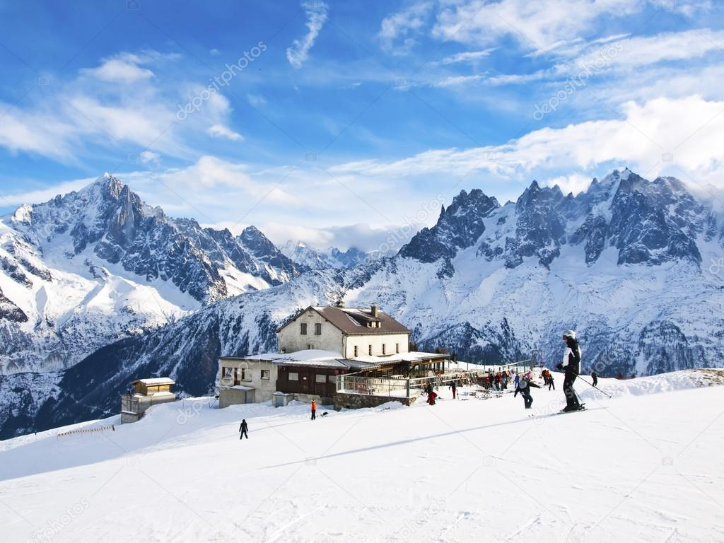 Skiing in French Alps