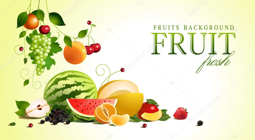 Assorted fruit. vector