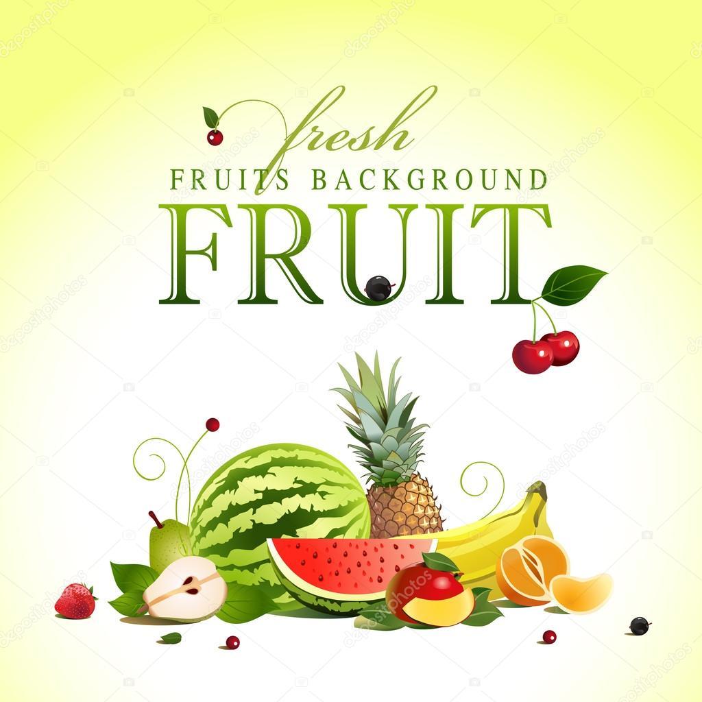 Assorted fruit. vector
