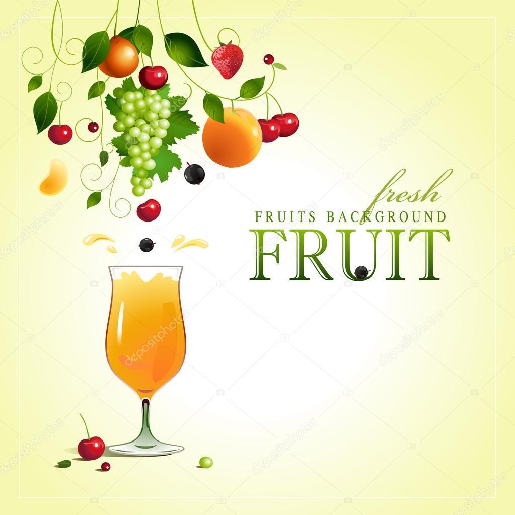 Glass of juice. Ripe fruit. Vector
