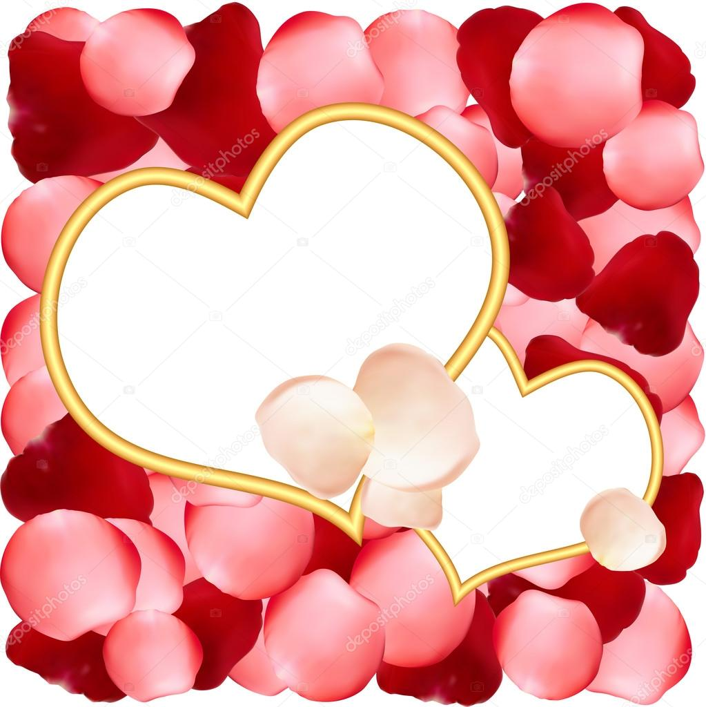 Heart-shaped frames on romantic background of rose petals — Stock ...