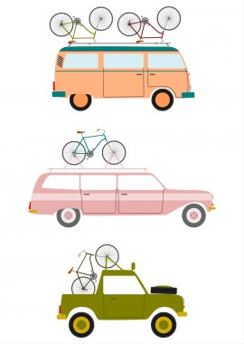 Retro cars transporting bicycles.