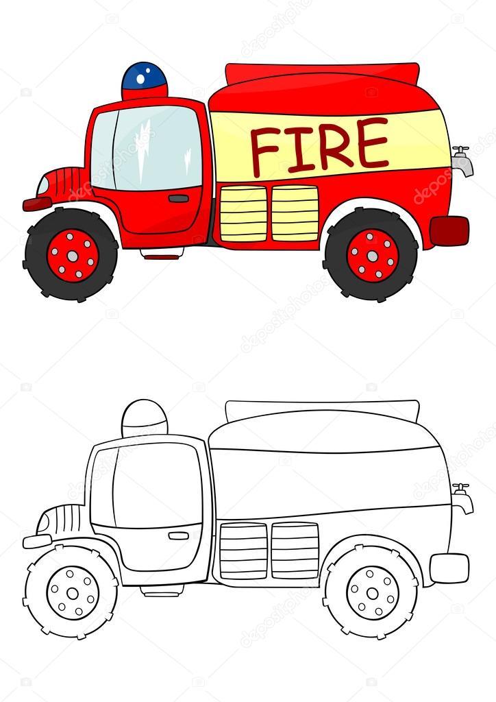 Dibujos: camiones de bomberos | Dibujo para colorear camión de ...