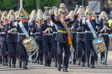 STOCKHOLM, Sweden - JUNE 8: The Royal Wedding between Princess Madeleine and Chris ONeill and the parade with the the Army Music Corps that was starting the procession. June 8, 2013, Stockholm, Sweden