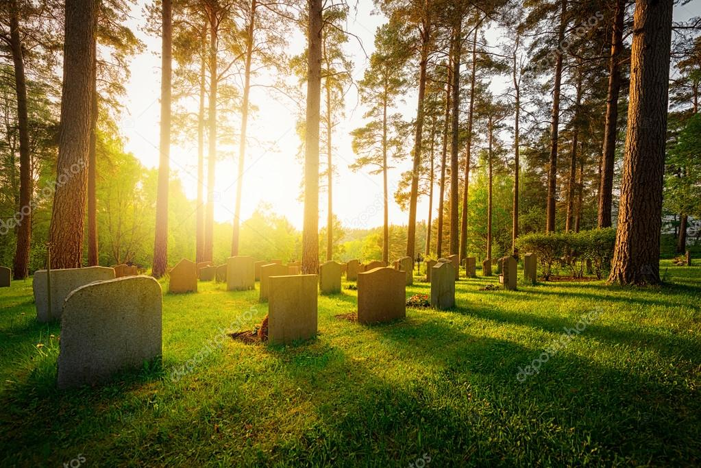 Graveyard in sunset with warm light