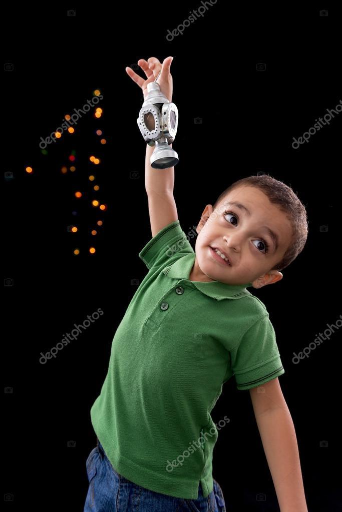 Happy Little Boy with Ramadan Lantern