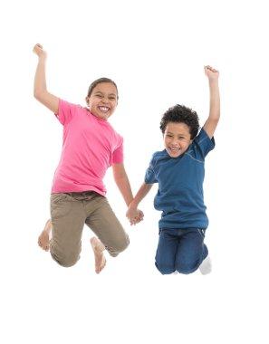 Active Joyful Kids Jumping with Joy