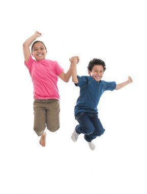 Active Happy Kids Jumping with Joy