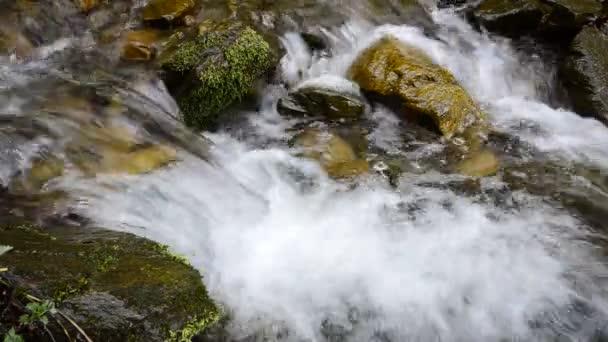 Gebirgsbach, Wasser fließt durch farbige Steine