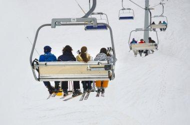 Chair ski lift elevator lifting people