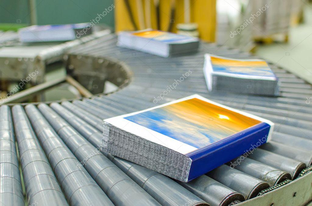 Book, magazine, production line into press plant house