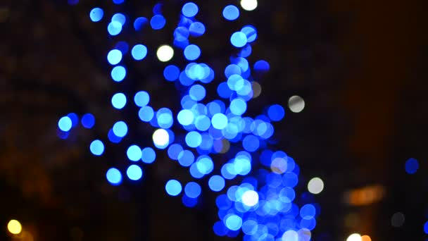 blue slowly moving lights background stock footage - Moving Christmas Lights