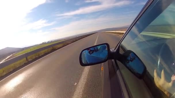 Sport car driving fast on highway