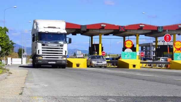 Car vehicle, truck and vans are passing the pay toll