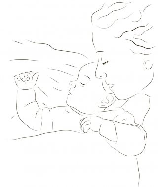 Sleeping mother and a baby