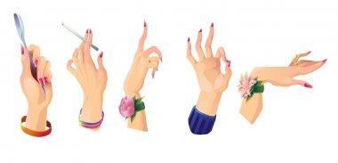 Set of beautiful female hands 2